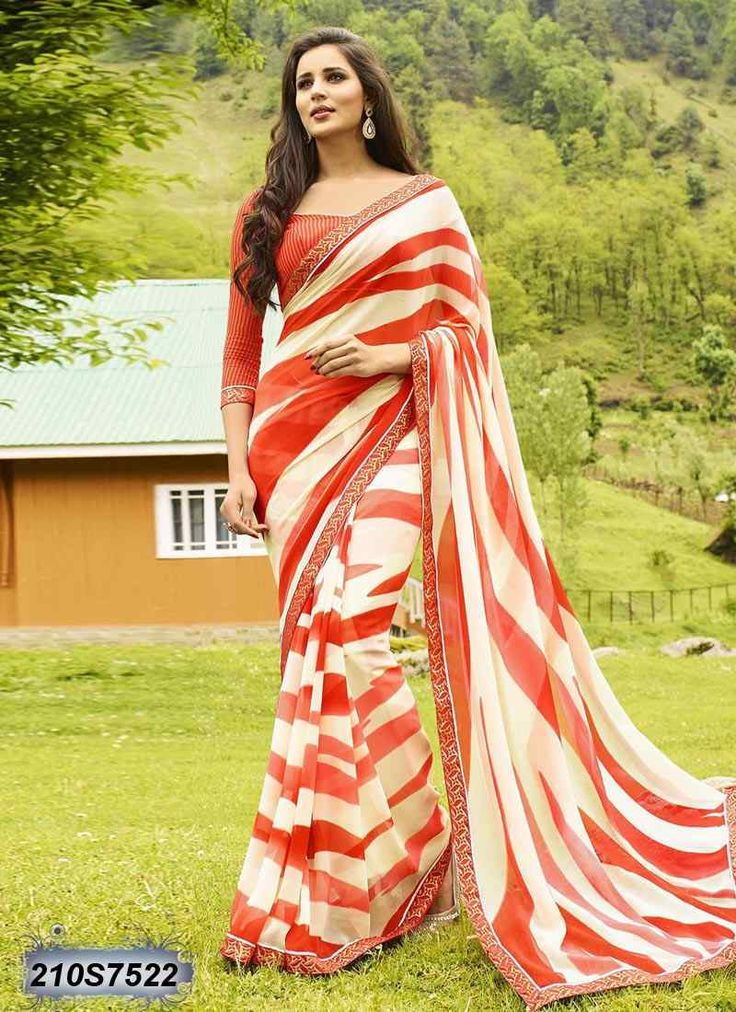 Voguish Off White and Red Coloured Georgette Printed Saree