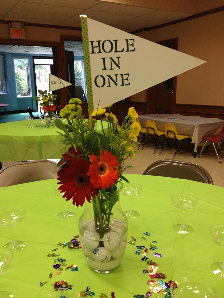 Golf theme party table centerpiece super easy diy for Golf centerpiece ideas