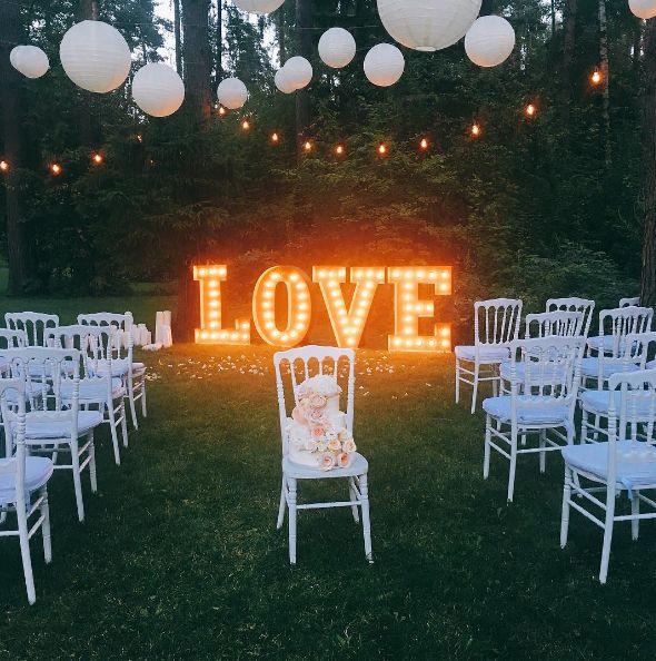Аренда больших световых букв LOVE для оформления свадебной фотозоны