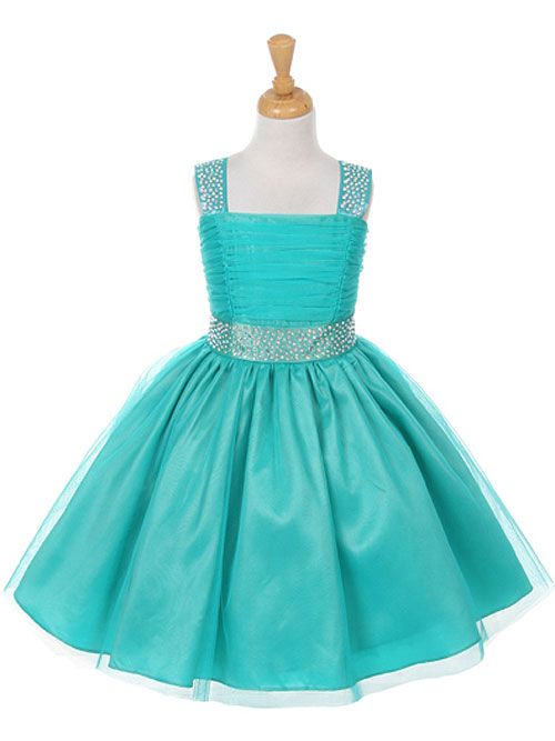 Blush Studded Dress with Rainbow Rhinestones - Pink / Blush Flower Girl Dresses