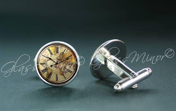 Vintage Old Clock Cufflinks, World Map Antique Wanderlust Travel Nautical Groomsmen Usher Cufflinks, Wedding Cufflinks, Gift for Him