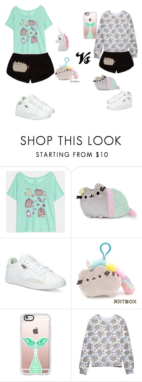 Unicorn pusheen vs mermaid pusheen! by beautykittycat16 ❤ liked on Polyvore featuring Pusheen, Puma, Casetify and Miss Selfridge