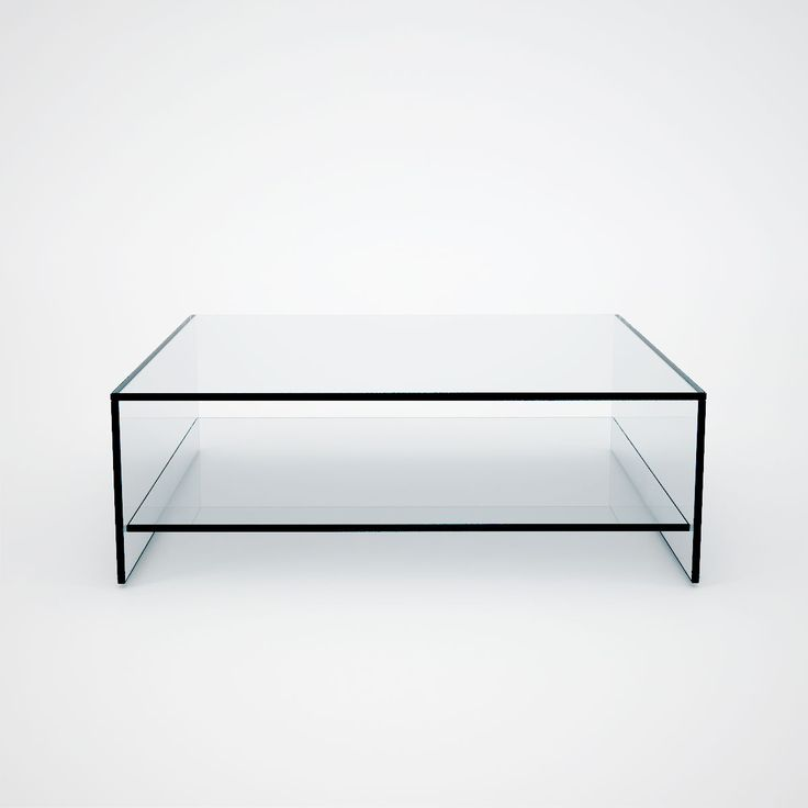 Judd - Square Glass Coffee Table with Shelf - Klarity