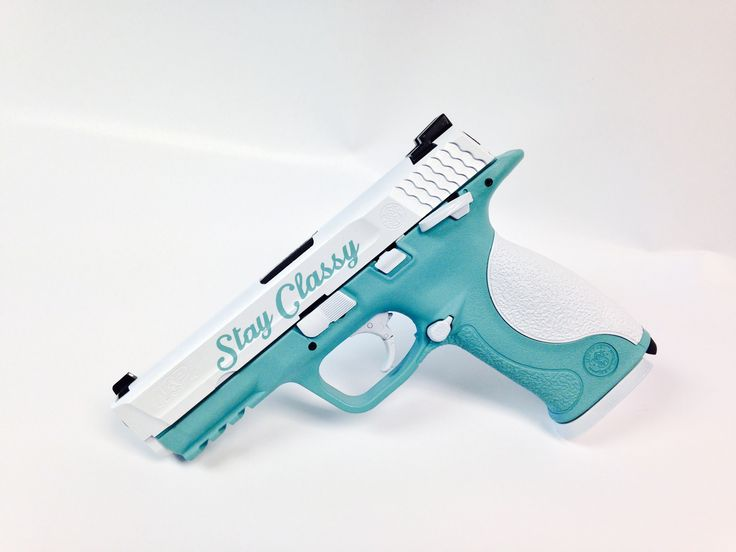 This Smith & Wesson M&P .40 has been coated in Tiffany Blue and White Pearl Coat.  Top it off with a little custom graphic work, and this is a great look.  Get this pistol into the right light and the Pearl Coat really comes to life!  Customize something for yourself today at www.tzarmory.com