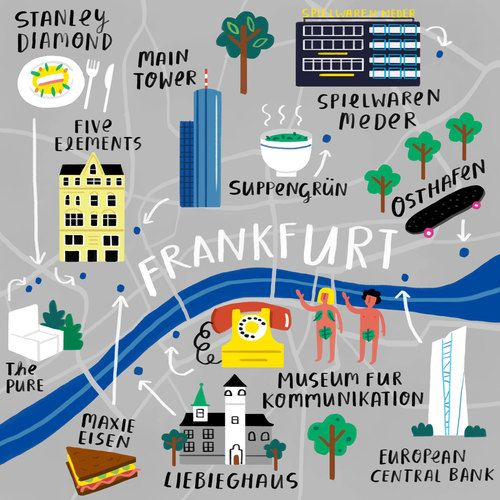 Fatti Burke - Map of Frankfurt for Cara Magazine #map #frankfurt #germany #deutschland