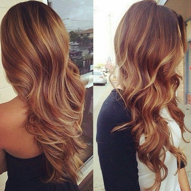 balayage highlights on red hair blonde balyagehair color - Auburn Hair Color With Blonde Highlights