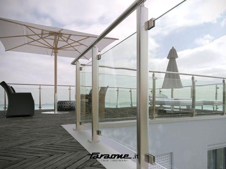 Baranda de escalera en aluminio y vidrio para balcones MAIOR COLORS VISION by FARAONE diseño Nino Faraone, Roberto Volpe