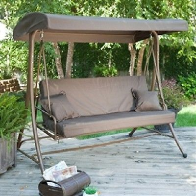 3-Person Convertible Canopy Swing Patio Bed