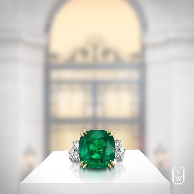 Designed to perfection. The magnificent 9.56-carat Cushion-Cut Emerald Ring is accented with #diamonds by #HarryWinston. #HighJewelry