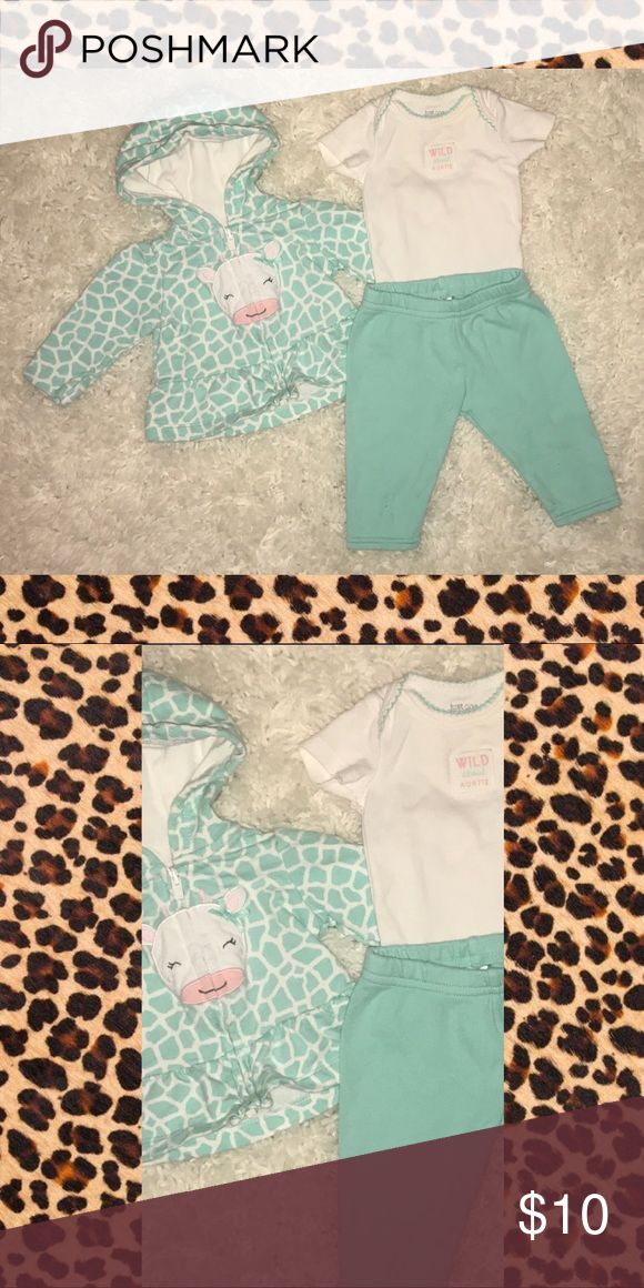 3-piece outfit for baby girls Animal print hoodie w/onesie and tights. Carter's Matching Sets