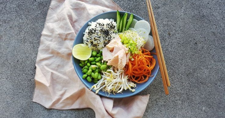 Salmon Bowl w/ Crunchy Salad and Japanese Dressing