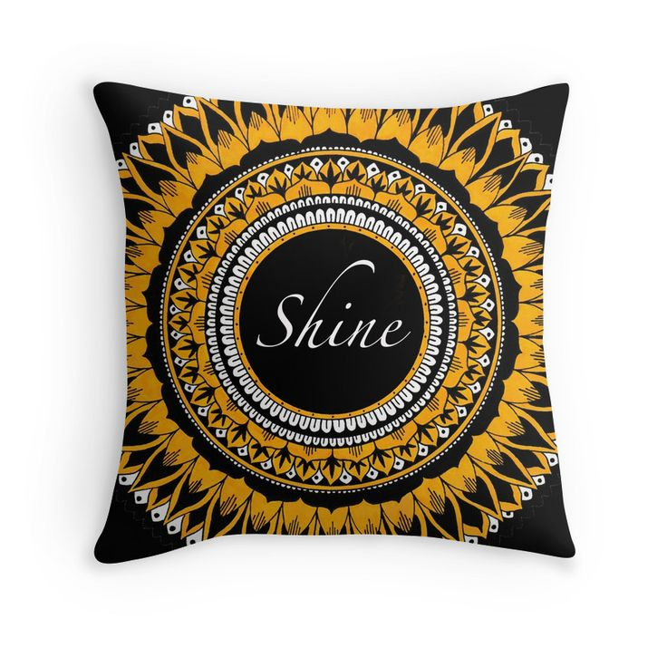 Shine Mandala by Shaseldine. Inspirational cushion with hand drawn Mandala print.