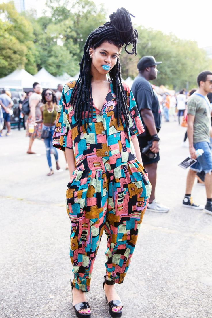 This jumpsuit is a patchwork dream. #refinery29 http://www.refinery29.com/2015/08/91360/afropunk-2015-music-festival-street-style-pictures#slide-1