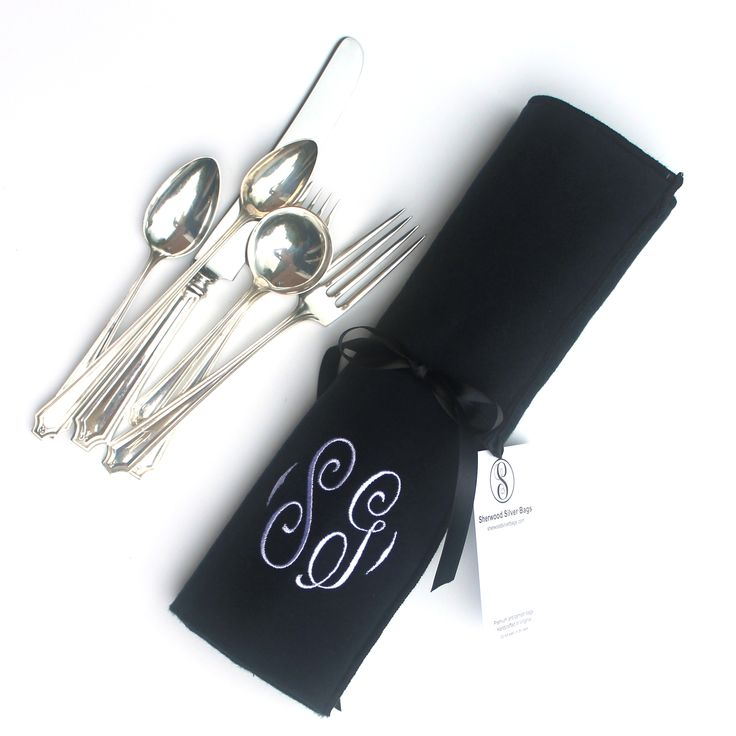 Anti Tarnish Flatware Storage Roll - Silverware Storage Monogrammed for Sterling Silver Flatware Roll, European Traditional Collection in Black 4