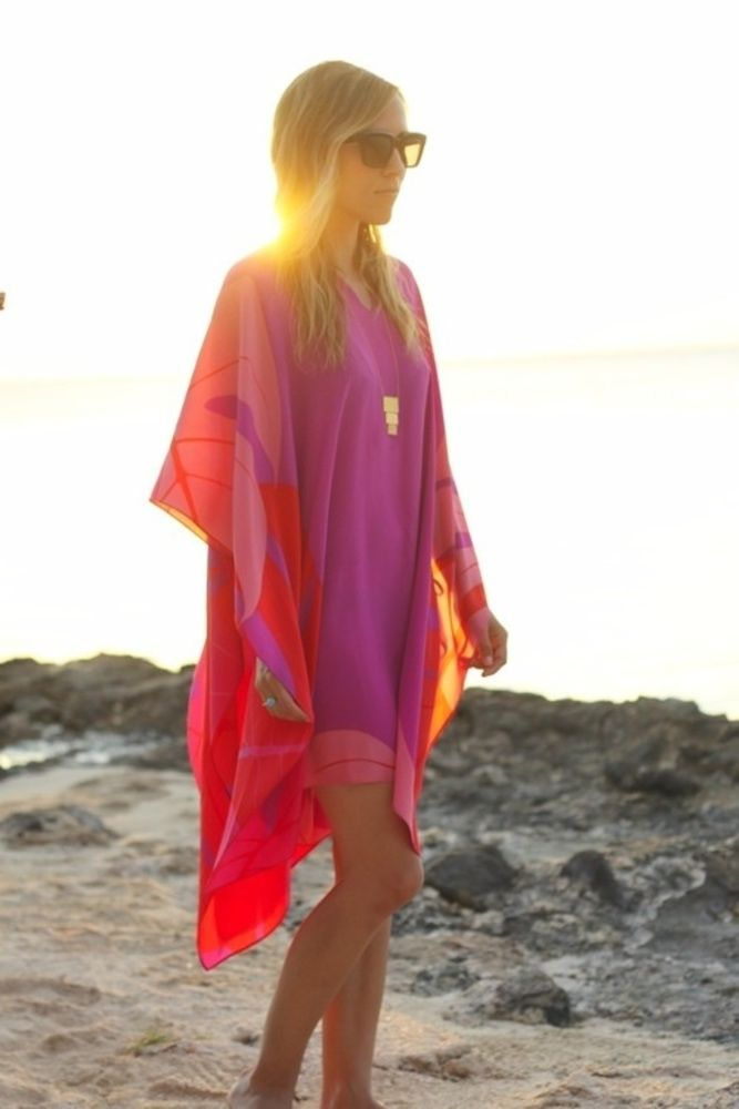 Sundown: cover up in shades of orange, yellow, pink and violet. Via Lake Effect Style: Weekends at the Beach House