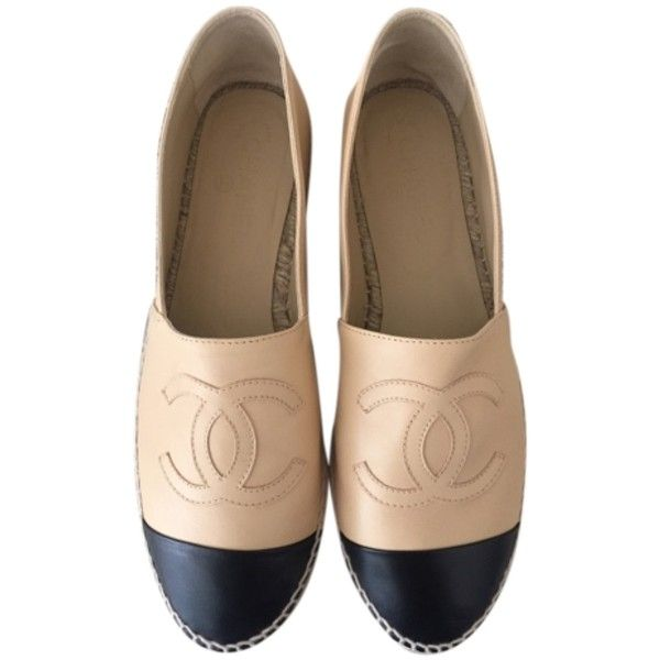 Pre-owned Chanel Beige Espadrilles Us10 Eu41 Flats ($909) ❤ liked on Polyvore featuring shoes, flats, beige, beige shoes, chanel shoes, pre owned shoes, chanel footwear and flat pumps