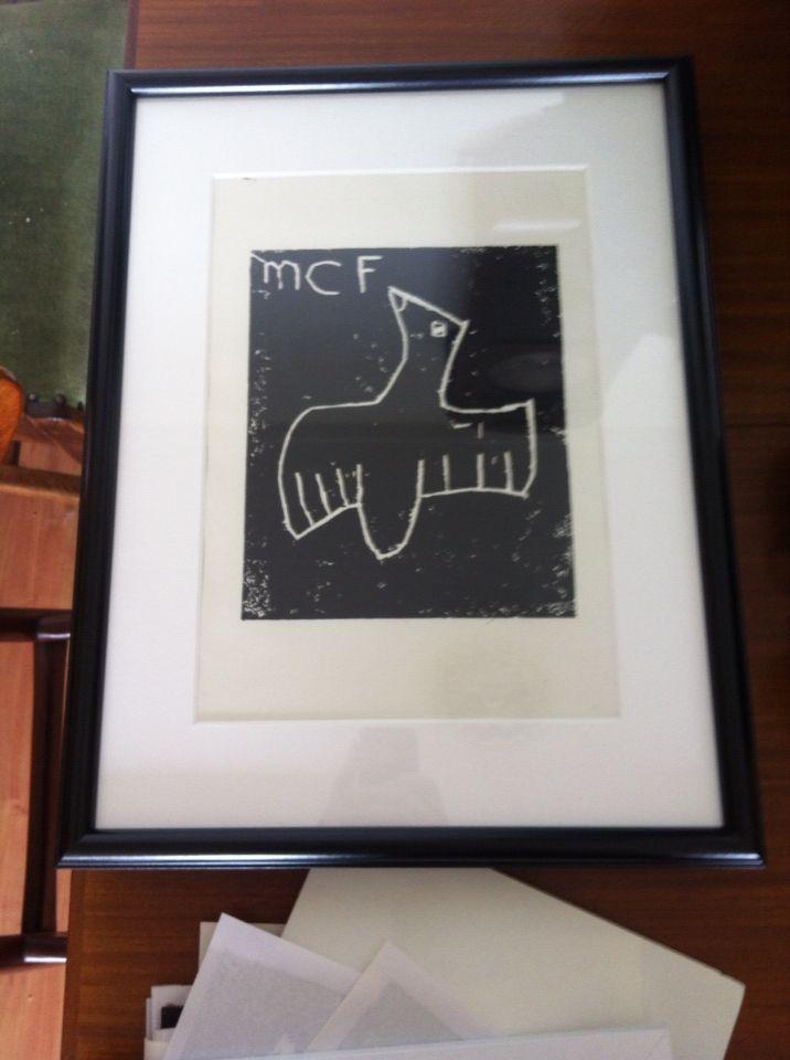 Myrne haar eerste lino- afdruk, gemaakt in t Escher- museum.