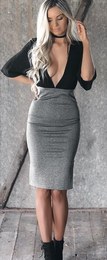 #summer #flirty #outfitideas Black Top + Grey Skirt                                                                             Source