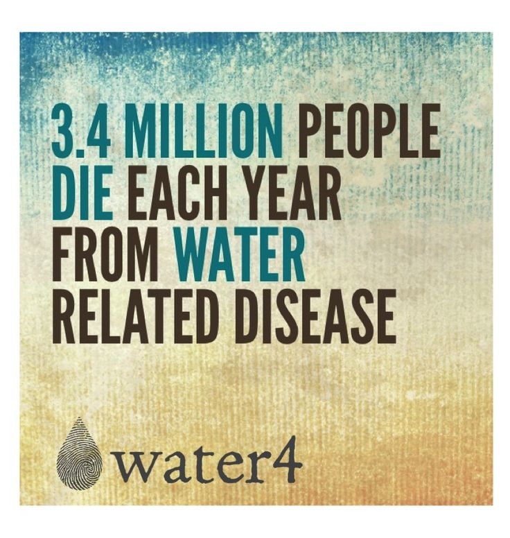 3.4 million people die each year from water related ...