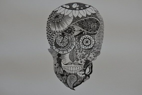 sugar skull - detailed original pen and ink on Etsy, $23.00 AUD