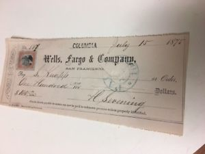 Original 1875 Wells Fargo & Co San Francisco $100 Franked Check #1    eBay