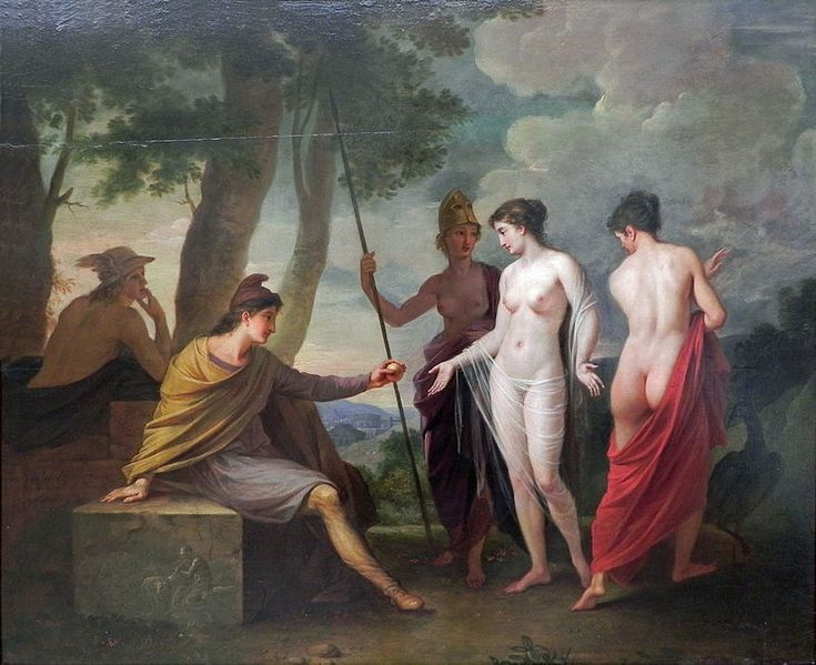 The Judgement Of Paris  Athena stands modestly in the background unwilling to display her full beauty