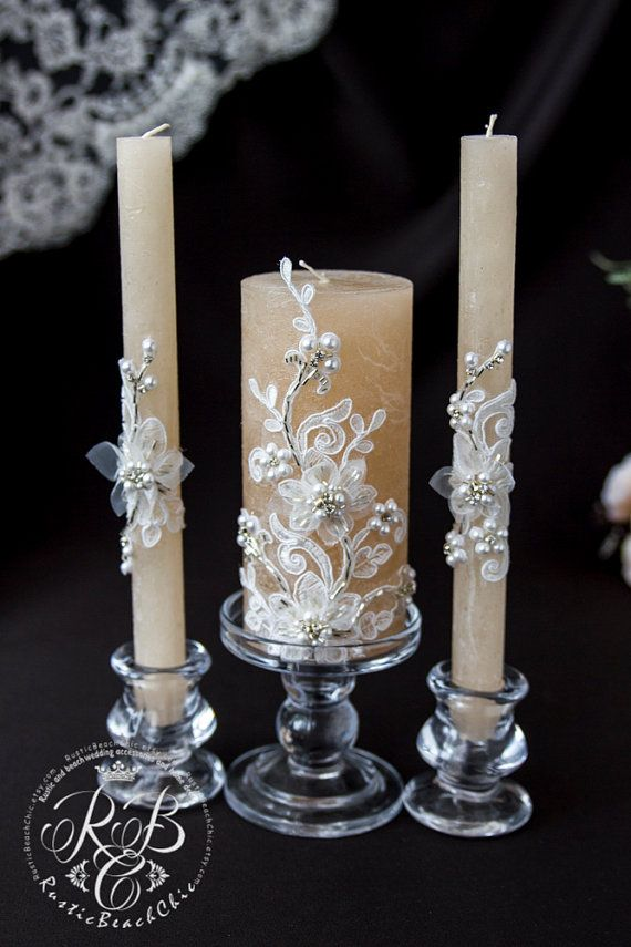 Caramel & white wedding pillar candles flowers от RusticBeachChic