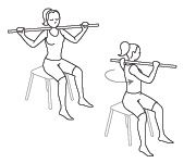 Sit with your back straight on a bench or chair. Place the broom stick on the nape of your neck and position your hands at both extremities, palms facing downward. Gently turn your upper body towards the left until the stick is turned at a 90-degree angle (or less if you are not capable). Return to the start position and gently turn your body toward the right. Do 2 sets of 15 repetitions. (Count one repetition when you've turned both left and right once.)