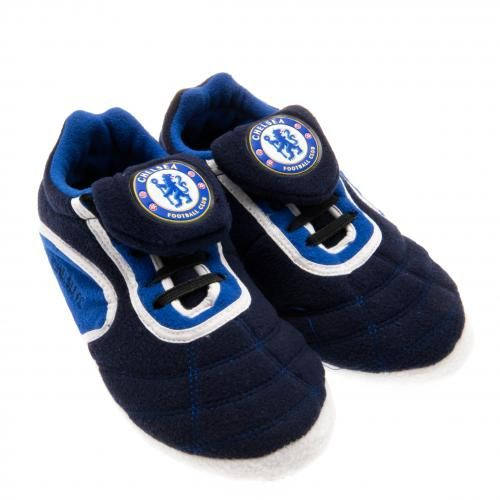 CHELSEA Children's Football Boot Slippers Size 3/4. In club colours and featuring the club crest. Official Licensed Chelsea children's slippers. PRICE INCLUDES DELIVERY
