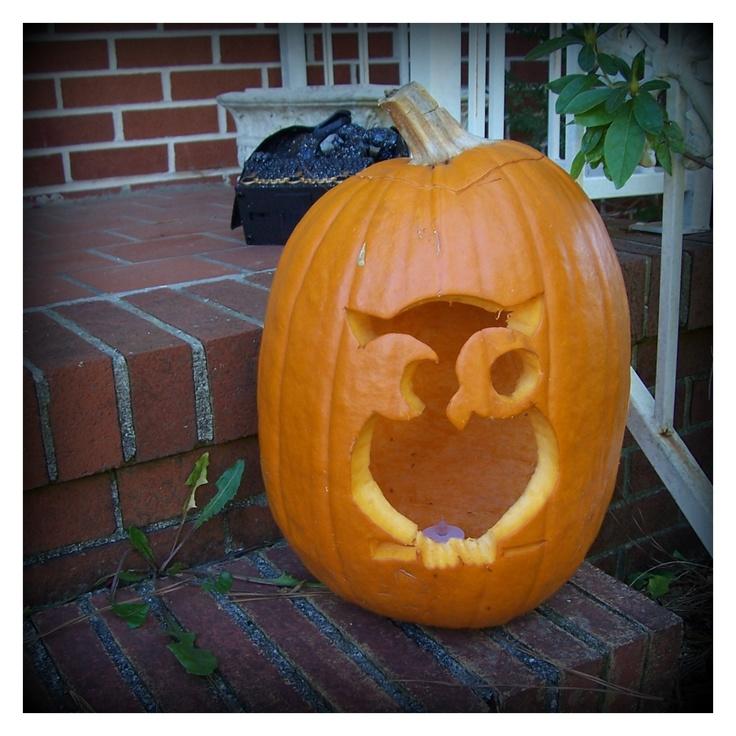 My owl pumpkin I downloaded a template