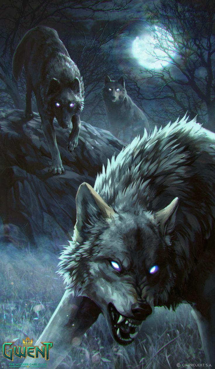 Rabid Wolf - Gwent Card, Anna Podedworna on ArtStation at https://www.artstation.com/artwork/YqdLb
