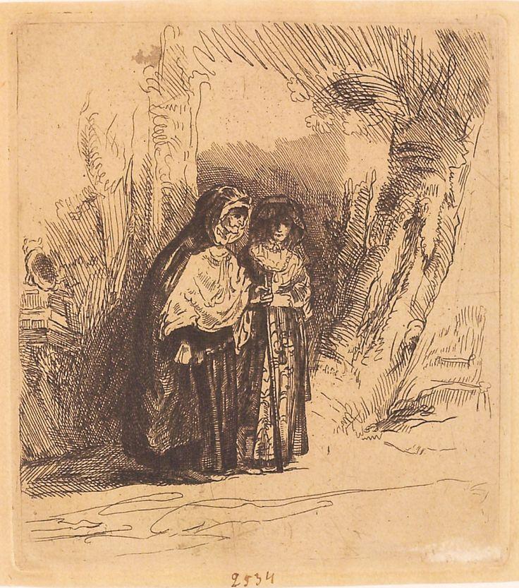 """Micile țigănci spaniole, 1789-1797 (după Rembrandt), semnătură ștearsă, nedatată. Imagine din colecțiile Bibliotecii """"V.A. Urechia"""" Galați."""