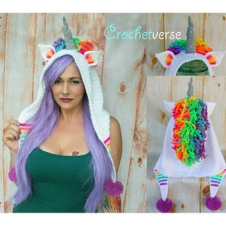 Crochet Unicorn Hood Hat Pattern - Ode to Artax! on Ravelry #crochetverse
