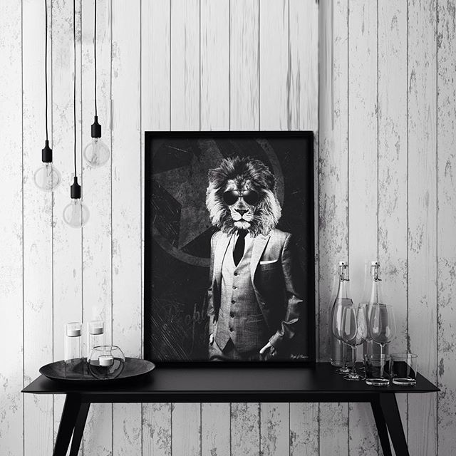 'Suit Up' #poster #interior #design #party #weekend #norway #nordic #lion #print #black #white