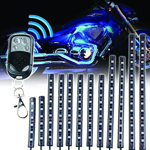 12pcs Motorcycle Led Light Kit Multi Color Flexible Strips With Remote Controller For Car Suv