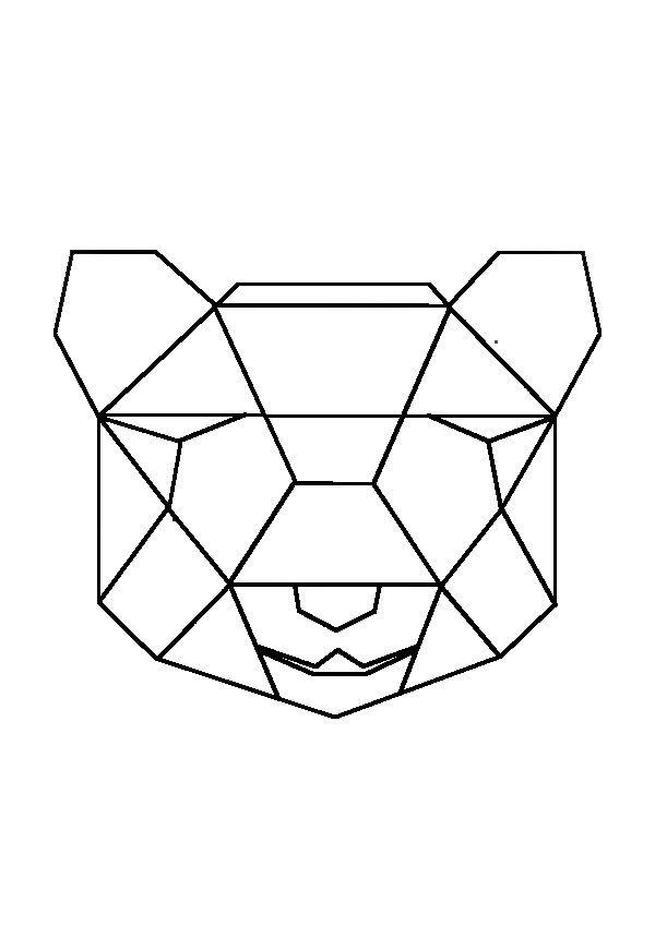 geometric geometrique panda head tete patron pinterest animaux geometrique dessin et le. Black Bedroom Furniture Sets. Home Design Ideas