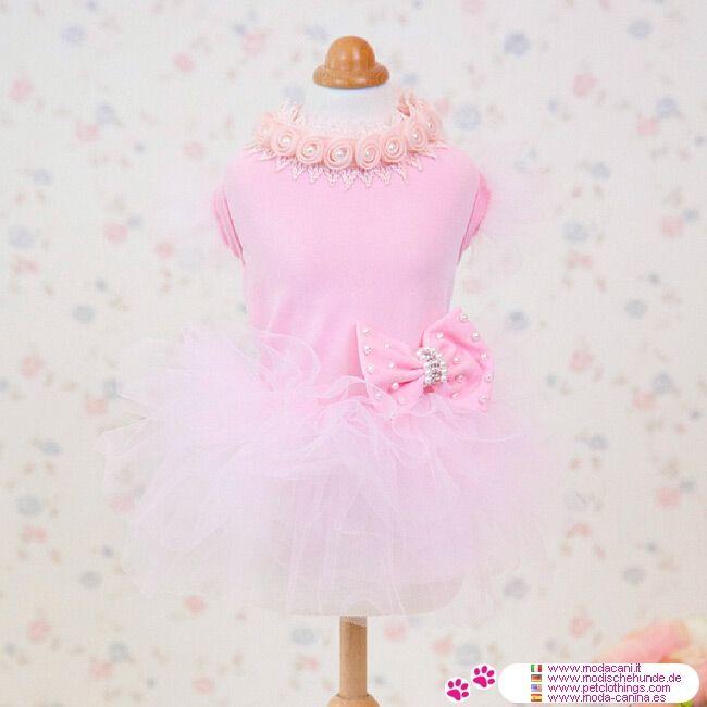 Stilvoll Rosa Kleid für Hunde mit Tüllrock - Stilvoll Rosa Kleid für Hunde mit Tüllrock, neue HundeMode Kollektion; ist in 5 Größen erhältlich (von XS bis XL) für Chihuahua, Pudel, Malteser