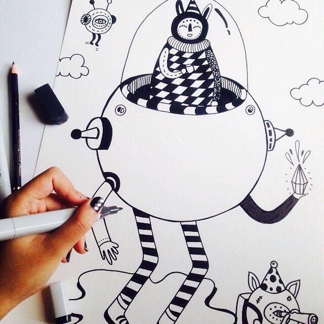 Doodle illustration with black marker