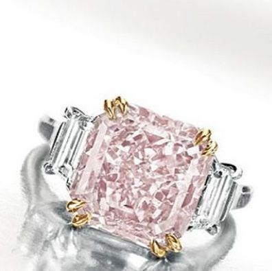 Harry Winston 6.10 carat Intense Pink Diamond Ring sold by Christie's for $5.7 Million Dollars. This ring was donated by Riki and Jerome Shaw and the proceeds went entirely to benefit animal welfare