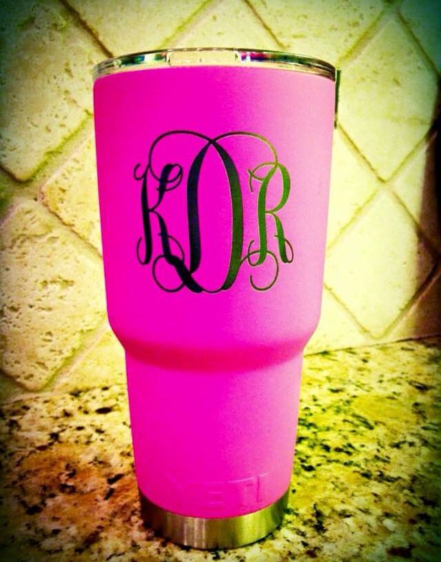 And a cute giftcard insideyeti rambler tumbler in prison pink cerakote laser etched monogram not included pink is a little darker in picture call