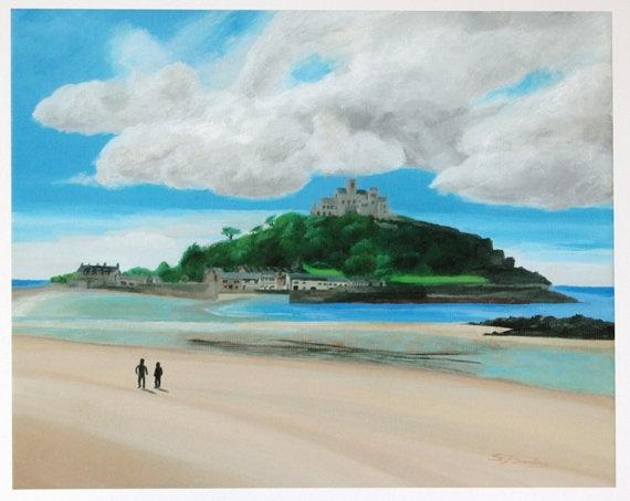 Saint Michael's Mount Cornwall Art Print  Free UK by SamsArtyStuff, £23.00