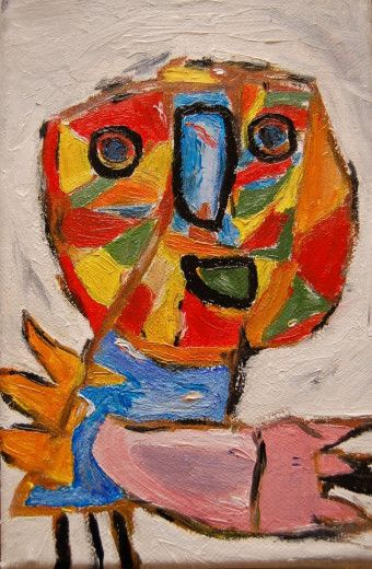 Karel Appel, was a Dutch painter, sculptor, and poet and founder of COBRA movement.  He was one of its most enthusiastic exponents and his abstract expressive style significantly influenced the subsequent emergence of so-called informal art. His images show fanciful animal and human figures that combine aspects of fear with childlike innocence.