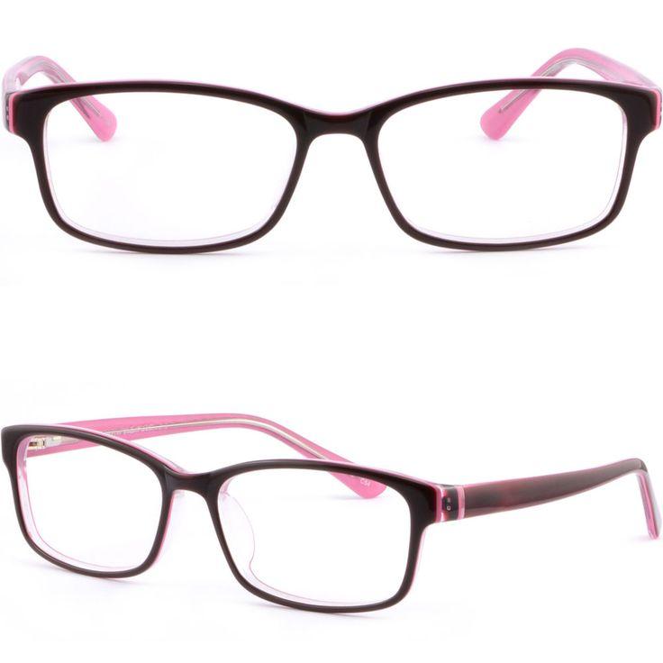 Black Pink Acetate Plastic Women Frame Prescription Glasses Spring Loaded Hinges #Unbranded