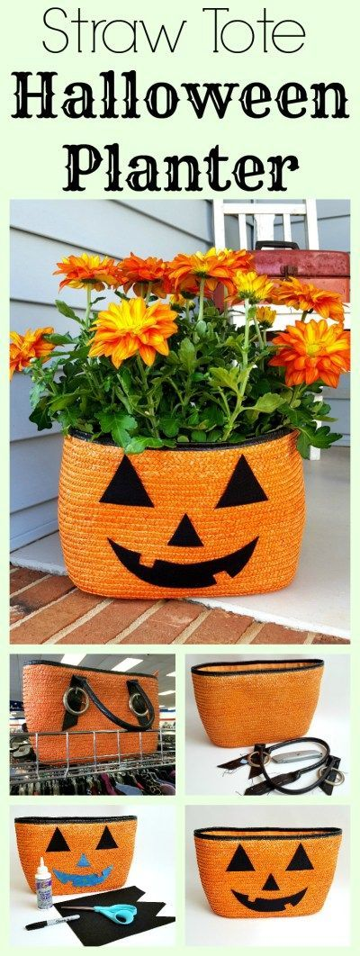 A thrift store orange and black straw tote bag was repurposed into a pumpkin / jack-o-lantern planter for mums! I didn't need to use it as a beach bag, and the colors were perfect for Halloween! Such cute autumn / fall porch decor, too. Another fun upcycle DIY craft project from #SadieSeasongoods / http://www.sadieseasongoods.com