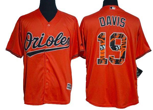 Baltimore Orioles Jersey Chris Davis - Orange Team Logo Fashion Jersey