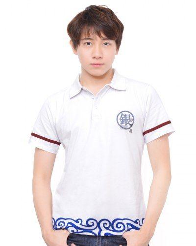 Silver Soul white Polo shirt Sakata Gintoki blue clouds printed t shirt for boys