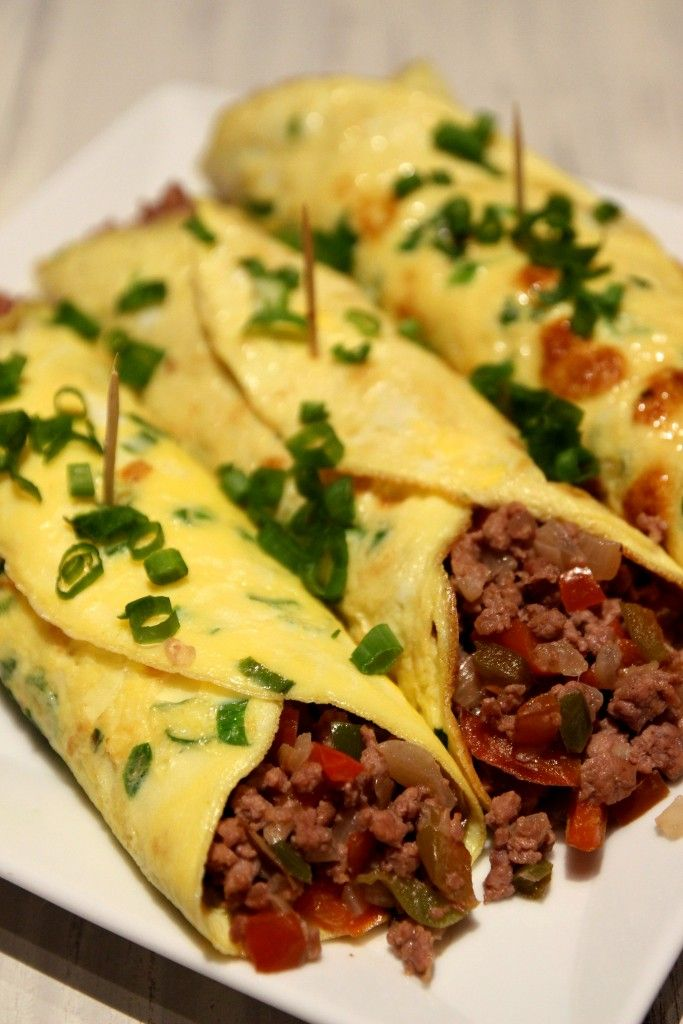 Minced Beef Egg Burritos - Dish by Dish. I think this would be good with sausage for breakfast.