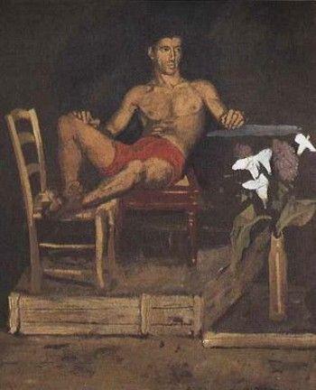Το κολύμπι και η εξάσκηση στο σχέδιο (λεπτομέρεια), Αθήνα και Montrouge, 1966-1968. Λάδι σε πανί, 59x192 εκ. (Ίδρυμα Γιάννη Τσαρούχη, 1168).