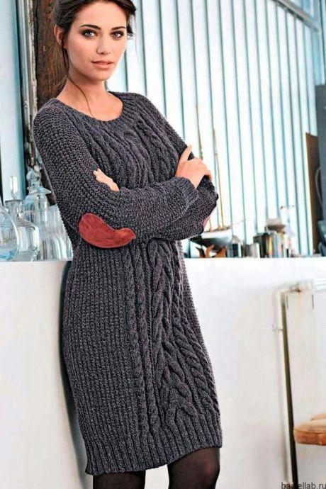 платье спицами описание теплое платье спицами с аранами вязание