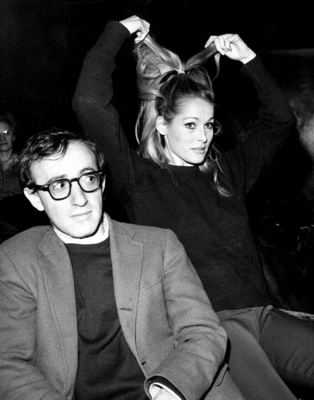 Woody Allen and Ursula Andress on the set of What's New Pussycat (Allen starred and wrote the screenplay), 1965.